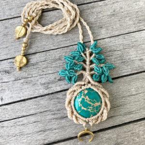 Makramee Halskette Baum des Lebens