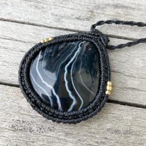 Makramee Halskette in schwarz